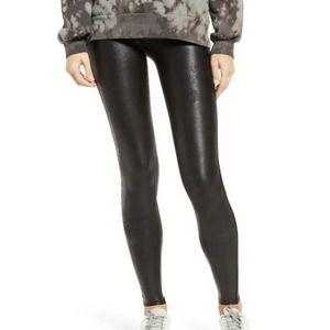 Spanx Faux Leather Legging Petite Solid Very Black Stretch Petite Sz Medium New